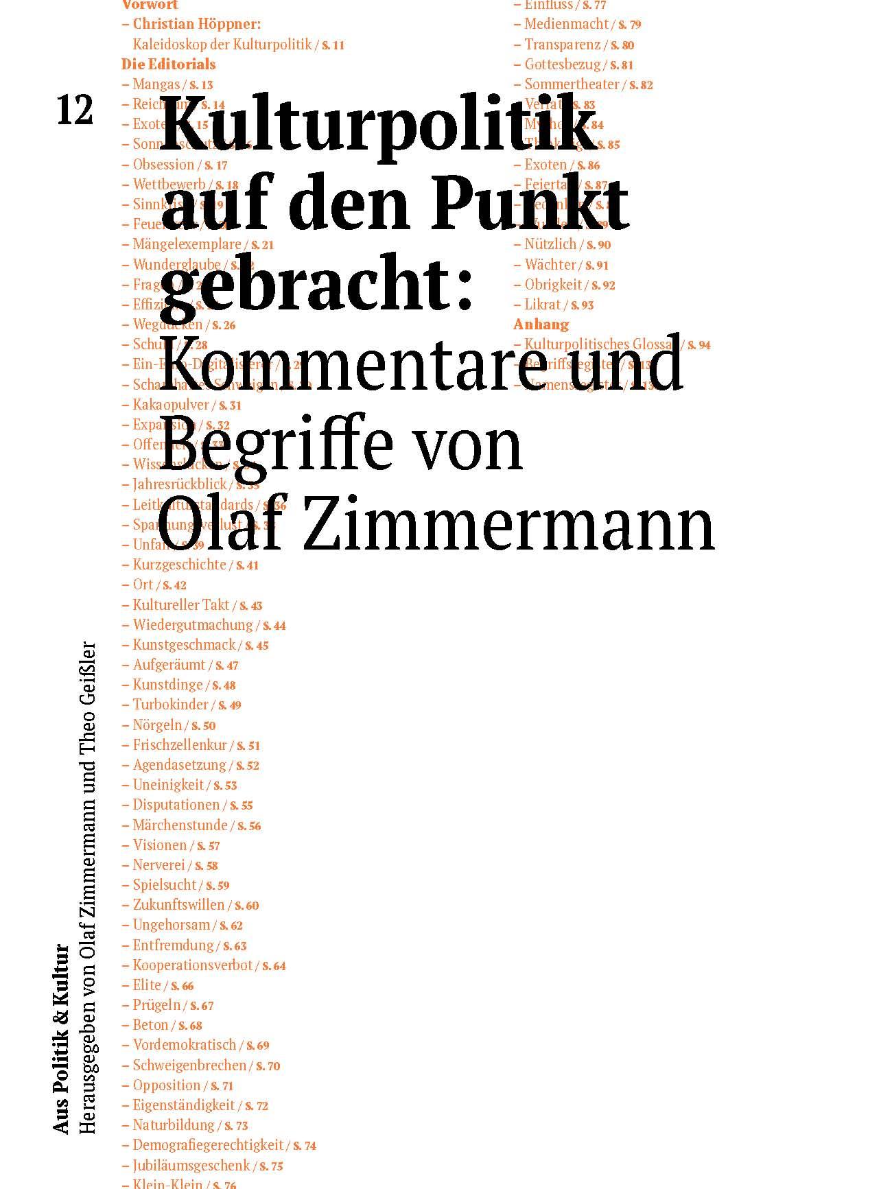 Kulturpolitik auf den Punkt gebracht: Kommentare und Begriffe von Olaf Zimmermann