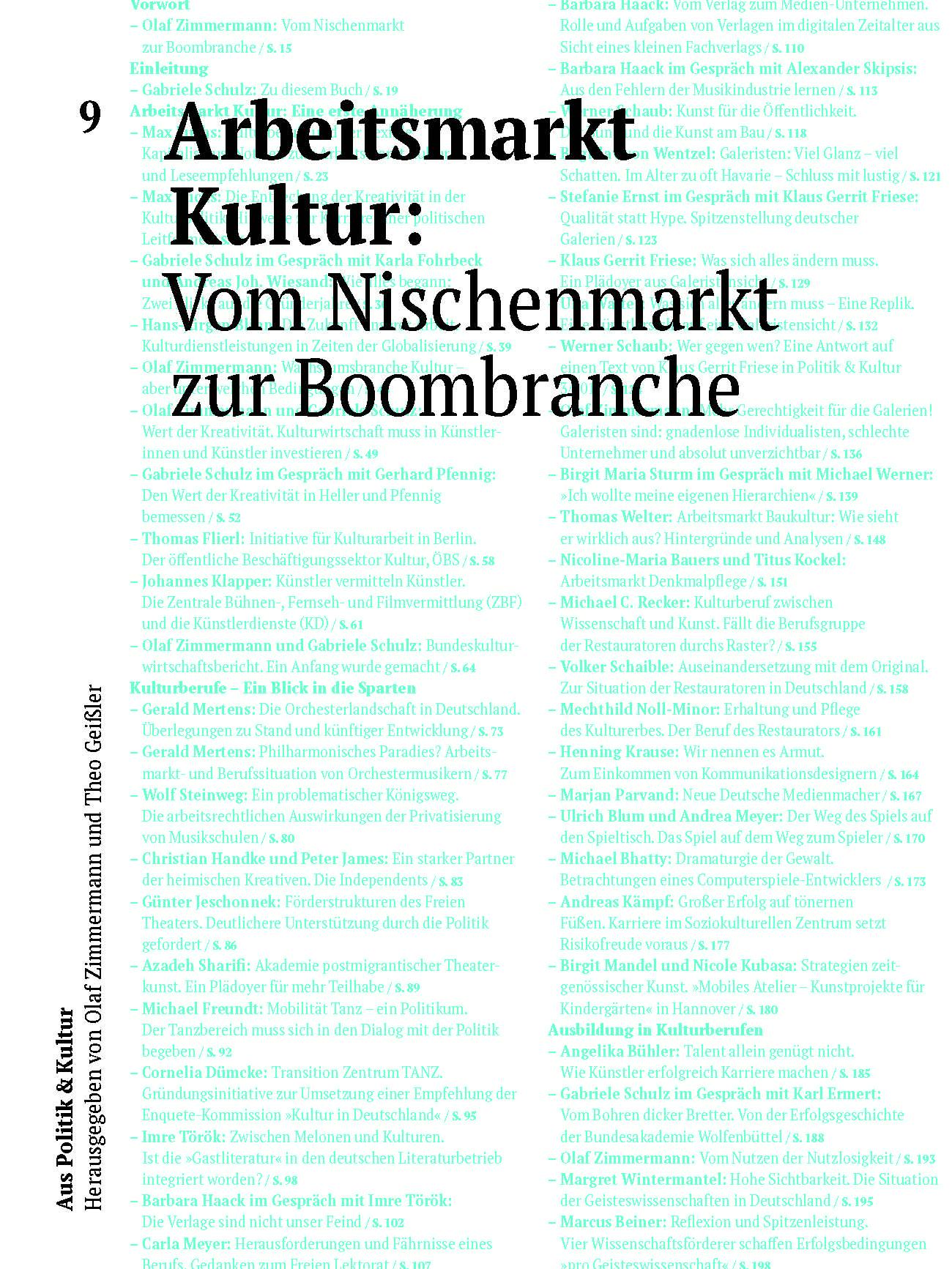 Arbeitsmarkt Kultur: Vom Nischenmarkt zur Boombranche