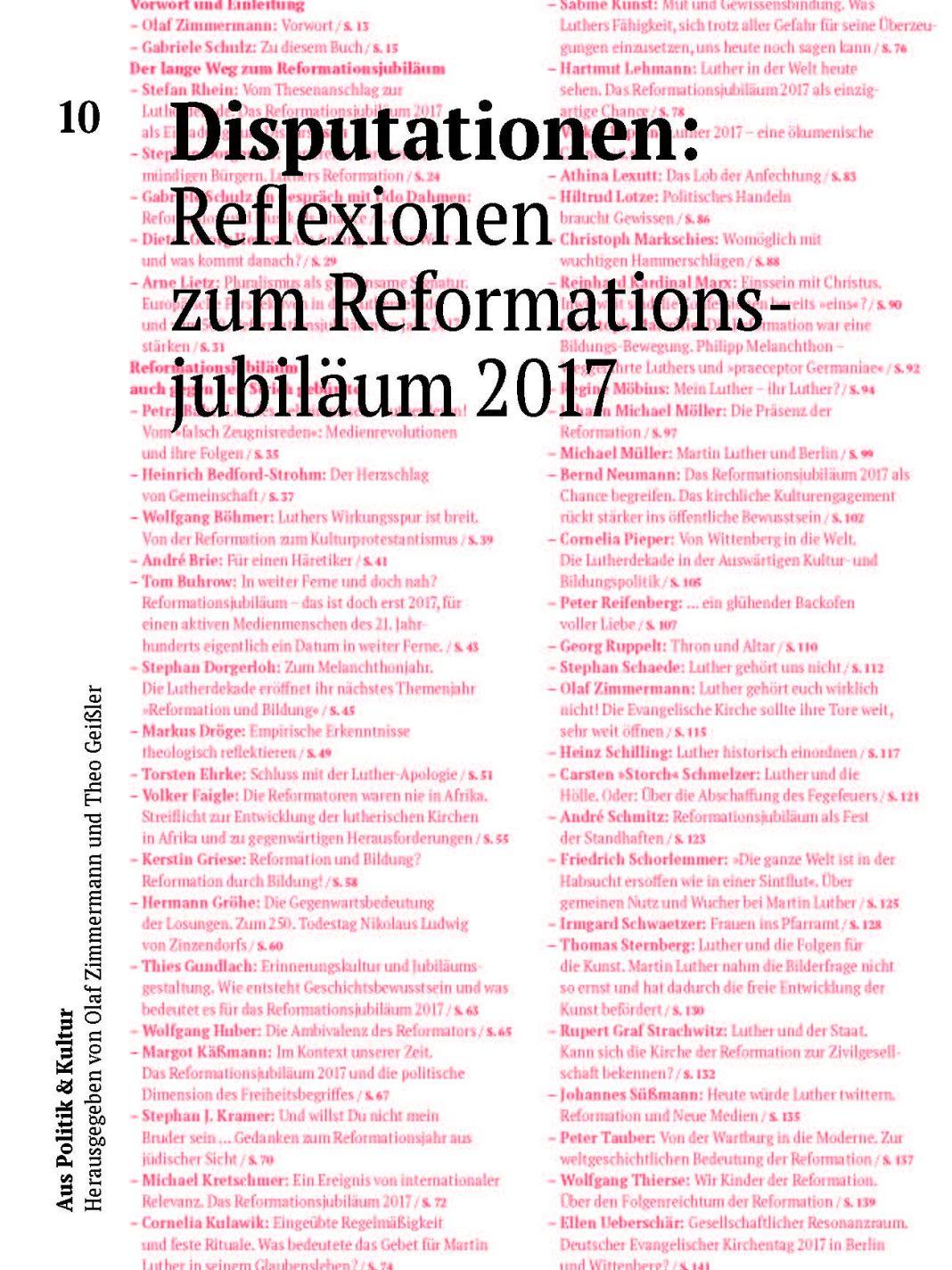 Disputationen: Reflexionen zum Reformationsjubliäum