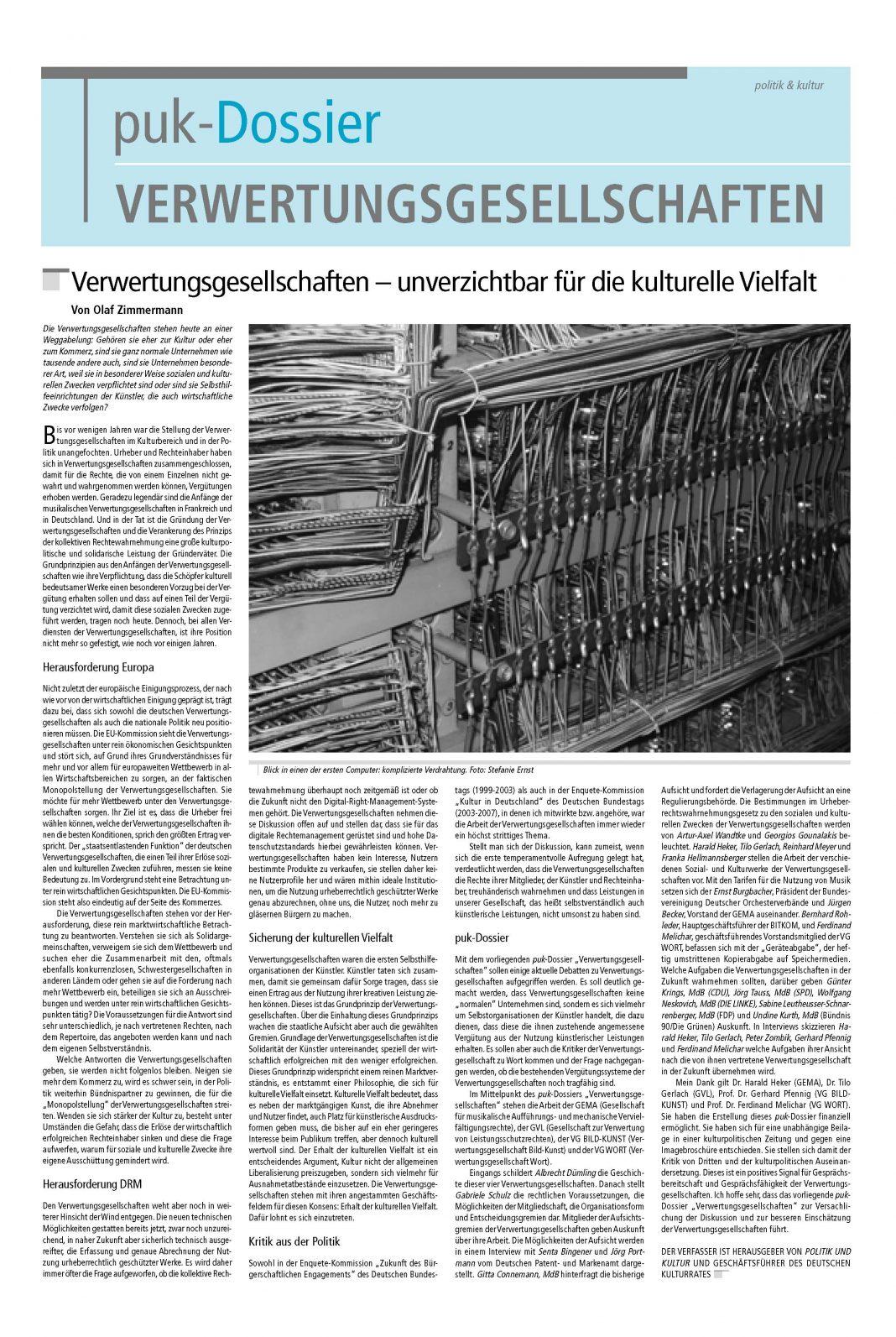 Dossier Verwertungsgesellschaften 1